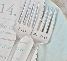 I DO, ME TOO - Vintage Wedding Cake Forks Personalized with Your Wedding Date by jessicaNdesigns on Etsy. $41.00, via Etsy.