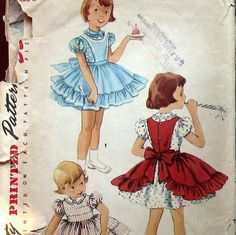 1950s Vintage Girls Dress Pattern With Frilly by kalliedesigns