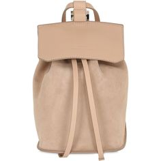 Desa Nineteenseventytwo Women Small Fourty Four Suede Backpack (€220) ❤ liked on Polyvore featuring bags, backpacks, backpack, beige, torbe, daypack bag, drawstring backpacks, beige bag, beige backpack and drawstring knapsack