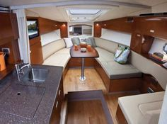 Very few companies have had the successful run that Sea Ray has enjoyed with their Sundancer series over the last 30 years. Yacht Interior, Interior Design, Boat Upholstery, Sea Ray Boat, Layout, Boat Stuff, Yacht Boat, Sailboat, Dream Boards