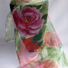 """Etole écharpe foulard en mousseline de soie peint main """" les roses de…"""