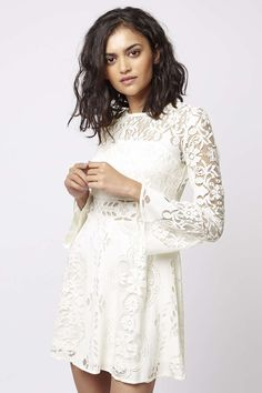PETITE Fluted Sleeve Lace Dress - Dresses - Clothing - Topshop USA