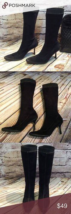 """SZ 8 ANNE KLEIN BLACK FAUX SUEDE BOOTS You can't tell the gorgeous things aren't real leather. Very nicely made and easy to clean and wipe off without damaging the material. They have rubber at the toe and back of heel with minor scuffs on the heel area. An elastic band around the top and pull on entry. Very sleek and chic for fall and winter. 3"""" heel. length from top to bottom 15"""". Top measurement 15"""" Anne Klein Shoes Heeled Boots"""