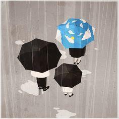 Pinzellades al món: Paraigües sota la pluja / Paraguas bajo la lluvia / Umbrella in the Rain Umbrella Theme