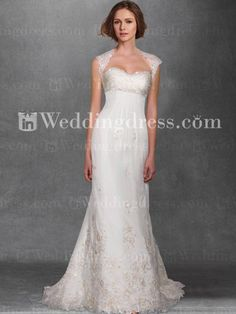 Fit-n-Flared Tulle Lace Destination Bridal Gown with Beading BC688/ $252.00