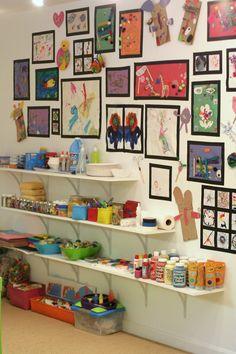 Playroom Design Our Art Room Kids Art Space Kids Room Kids Art Space, Kids Room Art, Art For Kids, Kid Art, Displaying Kids Artwork, Artwork Display, Deco Wedding Cake, Rangement Art, Childrens Artwork