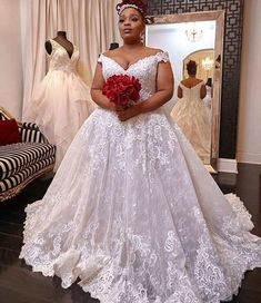 Off the Shoulder Plus Size Wedding Dresses Bridal Gowns from dressydances - Contact us: hkfashiongirls Besides the picture color, you can also choose any color you wa - Klienfeld Wedding Dresses, Plus Size Wedding Gowns, Cheap Wedding Dress, Bridal Gowns, Bridesmaid Dresses, Plus Size Brides, Curvy Bride, The Dress, Dress Girl