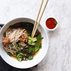 Miso, Vegetable And Walnut Soba Noodle Bowl via @feedfeed on https://thefeedfeed.com/tallulahalexandra/miso-vegetable-and-walnut-soba-noodle-bowl