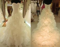 White/Ivory Organza Wedding Dress Bridal Gown by JABrides on Etsy