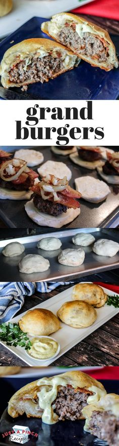 Flaky Grand Biscuits molded around juicy ground beef and cheese and tender onion and garlic for an extra zip for your taste buds. (Sandwich Recipes For Party) Burger Recipes, Meat Recipes, Cooking Recipes, Recipies, Cheese Recipes, Free Recipes, Comida Boricua, Do It Yourself Food, Beef Dishes