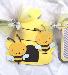 Bee baby shower banner, bee decorations, gender neutral banner, gender reveal, gray chevron, photo prop by NancysBannerBoutique on Etsy