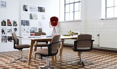 Brown Upholstered Swivel Chairs And Red Floor Lamp Shades With Large Size Also White Wall Design In Kitchen Area