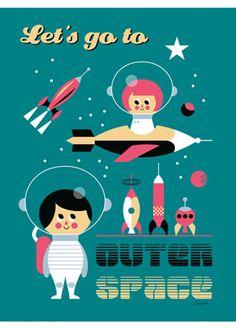 Affiche Rétro Vintage thème Espace, Planètes - Ingela Arrhenius