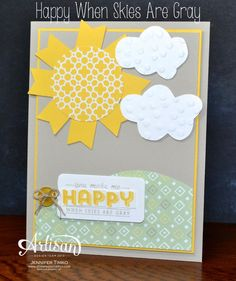 Banner Punch (free #SU SAB 2014 item) Sunshine and Clouds - Can also cut clouds with the Word Bubbles Framelits from #SU See Ya Later!