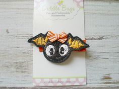 Black Bat Hair Clip Bat Hair Clip Girls Bat by DiddlebugsAndMe