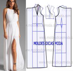 Vestido plissado comprido - Moldes Moda por Medida