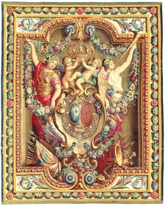 Louis XIV armorial tapestry bearing the royal arms of France and Navarre, late 17th century, Gobelins Factory