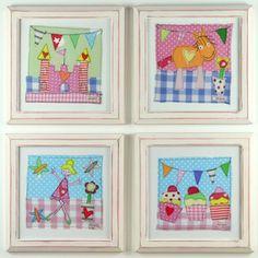 Gorgeous Gingham Girls Nursery Wall Art in White/Pink Frames £17.50 each. Perfect decor for little girl's bedrooms! #girlsnursery