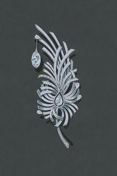 Diamond Brooch by Chanel Art Deco Jewelry, High Jewelry, Jewelry Design, Jewellery Sketches, Jewelry Drawing, Jewelry Sketch, Jewellery Box, Diamond Brooch, Diamond Jewelry