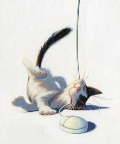 jugando con el ratón. ilustración de James Bennett