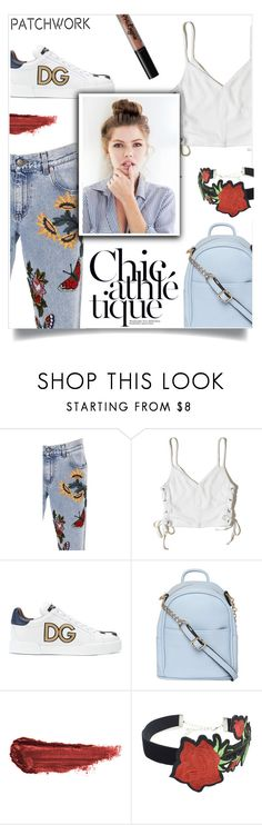 """""""Embroided Patches Denim Jeans"""" by stella-kar ❤ liked on Polyvore featuring Gucci, Hollister Co., Dolce&Gabbana, Dorothy Perkins, By Terry, WithChic, NYX, polyvorecommunity, patchwork and polyvoreeditorial"""