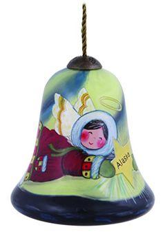 Ne'Qwa Art, Christmas Gifts, Alaska Angel, Artist Susan Winget, Petite Bell-Shaped Glass Ornament