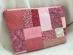 Pink Patchwork Make-Up/Cosmetic Bag by MommyMaryCrafts on Etsy
