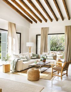 〚 Natural materials and beautiful shades of green: holiday villa in Mallorca 〛 ◾ Photos ◾ Ideas ◾ Design #livingroom #Homedecor #interiordesign #Ideas #inspiration #tips #cozy #Living #style #space #home #decor #interior Tiny Living Rooms, Spacious Living Room, Home And Living, Living Room Decor, Cozy Living, Living Spaces, Blog Deco, Faux Wood Beams, Elegant Homes