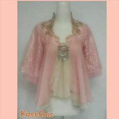 Bolero lace baby pink with nude color's combination
