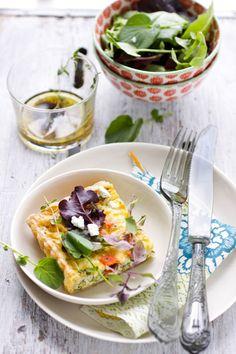 Leek, baby broccoli, smoked salmon & goat cheese tart