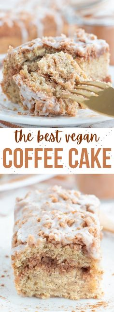 The best ever vegan coffee cake recipe with a brown sugar and cinnamon crumb topping, moist cake center and light and sweet glaze on top! #vegancoffeecake #vegancake #vegandesserts #coffeecake Healthy Vegan Desserts, Vegan Dessert Recipes, Delicious Vegan Recipes, Cupcake Recipes, Cupcake Cakes, Cupcakes, Pie Recipes, Brunch Recipes, Vegan Food