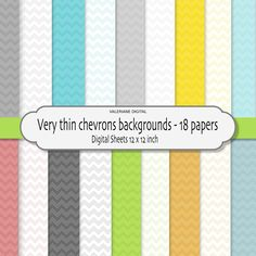 Very thin chevrons  - Digital Scrapbook Paper and Website background -18 jpg files 12x12  - INSTANT DOWNLOAD 177. $2.50, via Etsy.