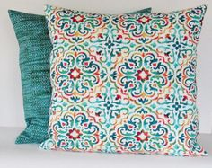 Geometric Outdoor Pillow Cover Aqua Turquoise by GigglesOfDelight