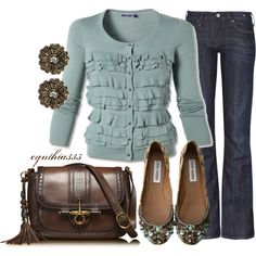 This blue, ruffled cardigan and a tiny touch of leopard makes this an outfit to enjoy. Classy Outfits, Pretty Outfits, Casual Outfits, Cute Outfits, Fashion Outfits, Classy Clothes, Fashion Capsule, Fall Clothes, Casual Wear