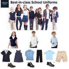 Collection School Uniforms with French Toast by HildaDeJesus at FAEARCH Inspired Collections. Private School Uniforms, School Uniform Shoes, Uniform Clothes, School Uniform Fashion, Preppy Outfits, Outfits For Teens, Boy Outfits, Black And White Crop Tops, Kids Uniforms