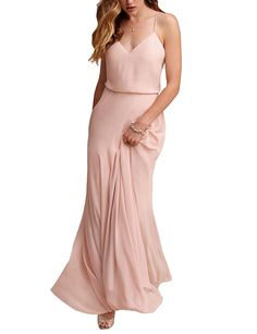 27dcfacdf21f Gardenwed Simple Spaghetti Straps Flowy Long Bridesmaid Dress Formal Dress  at Amazon Women s Clothing store  · Beach Wedding Bridesmaid DressesChiffon  ...