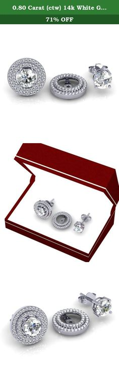 0.80 Carat (ctw) 14k White Gold White Diamond Round Double Row Removable Jackets for Stud Earrings 3/4 CT. This lovely diamond Jackets feature 0.80 ct white diamonds in Prong setting. All diamonds are sparkling and 100% natural. All our products with FREE gift box and 100% Satisfaction guarantee. Only the jackets are for sale. Inner Diameter is 8 mm and Outer diameter is 13 mm. Can be fit with 8 mm Each Round Shape Center Diamond. SKU # K2037.
