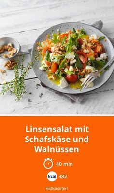 Lentil salad with sheep& cheese and walnuts - Linsensalat mit Schafskäse und Walnüssen Lentil salad with feta cheese and walnuts – smarter – calories: 382 kcal – time: 40 min. Fresh Vegetables, Veggies, Sheep Cheese, Lentil Salad, Dried Beans, Greens Recipe, How To Make Salad, Salad Recipes, Lentil Recipes