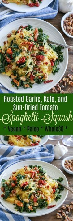 Roasted Garlic and Kale Spaghetti Squash with sun-dried tomatoes and walnuts - a nutritious meatless weeknight meal // vegan // paleo // gluten free // spaghetti squash // // healthy // garlic // kale // tomato // roasted // recipes // Veggie Dishes, Veggie Recipes, Low Carb Recipes, Vegetarian Recipes, Cooking Recipes, Healthy Recipes, Vegetarian Lunch, Chicken Recipes, Recipes With Kale