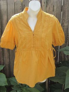 NWT Elle  Amber Gold Lace it up Summer Tunic Top W $34 Tags Women X Small #ELLE #Tunic #Casual