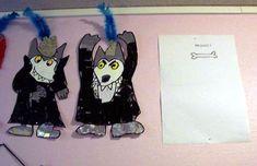 Les vêtements du loup (peinture et collage de matériaux divers)