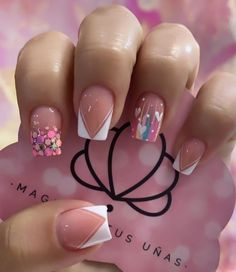 3d Nails, Love Nails, Coffin Nails, Birthday Cake With Flowers, Acylic Nails, Press On Nails, French Nails, Nail Trends, Simple Nails