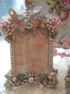 Shabby Chic picture frame embellished with jewelry