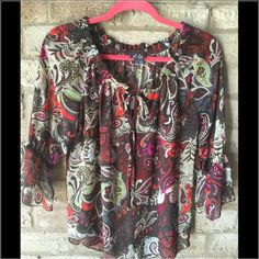 Ladies blouse Paisley multi color sheer blouse in awesome condition Dots Tops Blouses