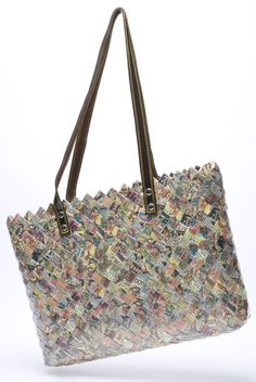 """16"""" x 11"""" x 3"""" shoulder bag made from newsprint comic sheets of paper.  ♦ Nahui Ollin - bags, wallets, etc. made from woven candy wrappers, old street maps, clipped bar codes, newspaper comics, etc. (original source - http://www.nahuiollin.com/handbags/shoulder-bags/ritual-comics.html )"""