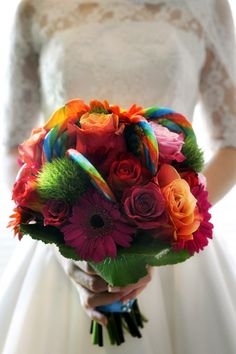 retro wedding, retro bouquet, wedding flowers, wedding bouquet, silk flowers photo source fiftieswedding.com shop wedding flowers and wedding decorations www.afloral.com