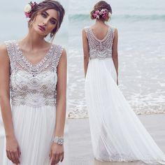 Bridal Gowns Anna Campbell Maternity Wedding Dresses 2015 Plus Size Bohemian Chiffon Beach V Neck Crystals Beaded Empire Boho Bridal Dress Gowns Weddings From Honeywedding, $132.99| Dhgate.Com