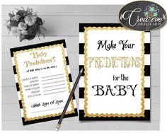 Glam Baby Shower Shower Black Stripes Eye Colour Baby Predictions PREDICTIONS FOR BABY, Pdf Jpg, Shower Celebration - bs001 #babyshowergames #babyshower
