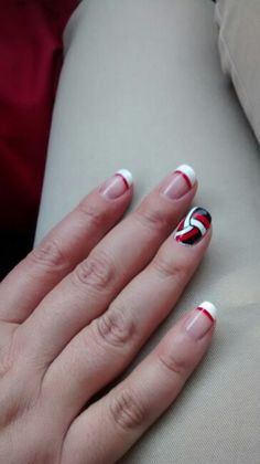 Cute volleyball nails!! May change red and black to gold and blue for my school