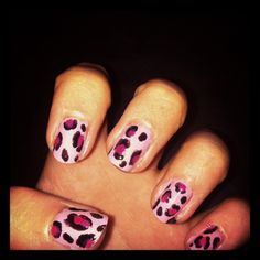 Pink leopard nails I did for Halloween